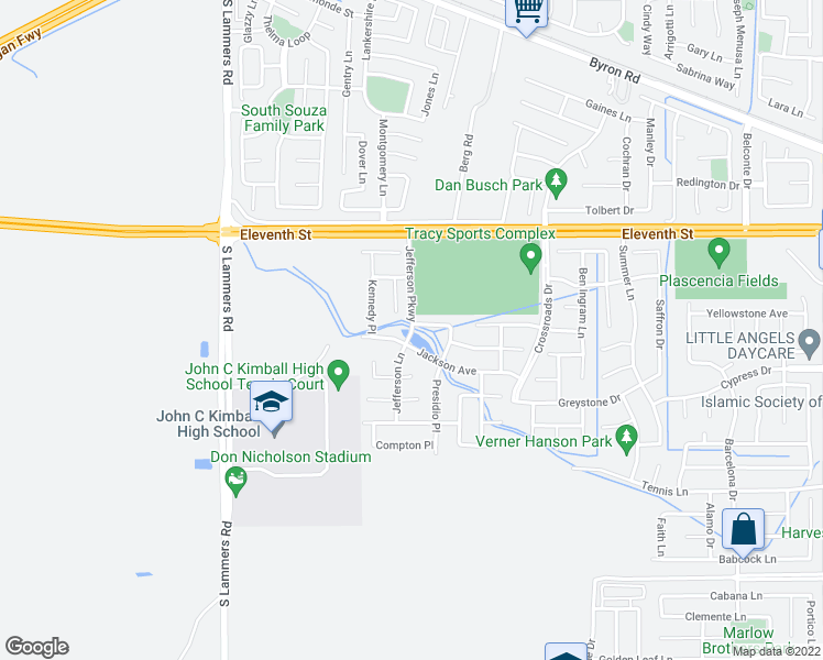 map of restaurants, bars, coffee shops, grocery stores, and more near Jefferson Pkwy in Tracy