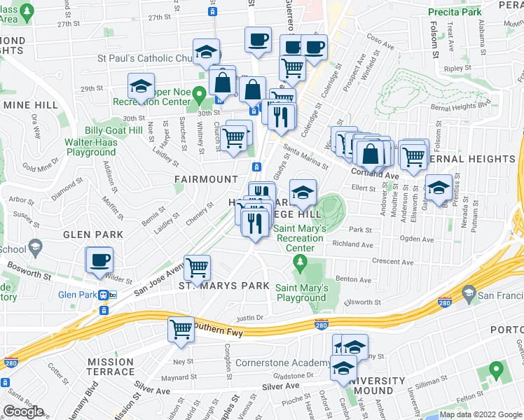 map of restaurants, bars, coffee shops, grocery stores, and more near Mission Street & Highland Avenue in San Francisco