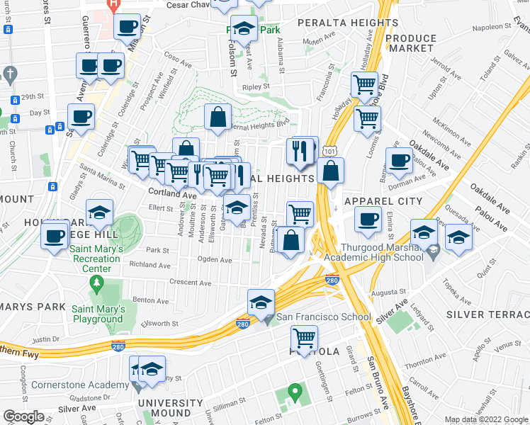map of restaurants, bars, coffee shops, grocery stores, and more near Nevada Street in San Francisco