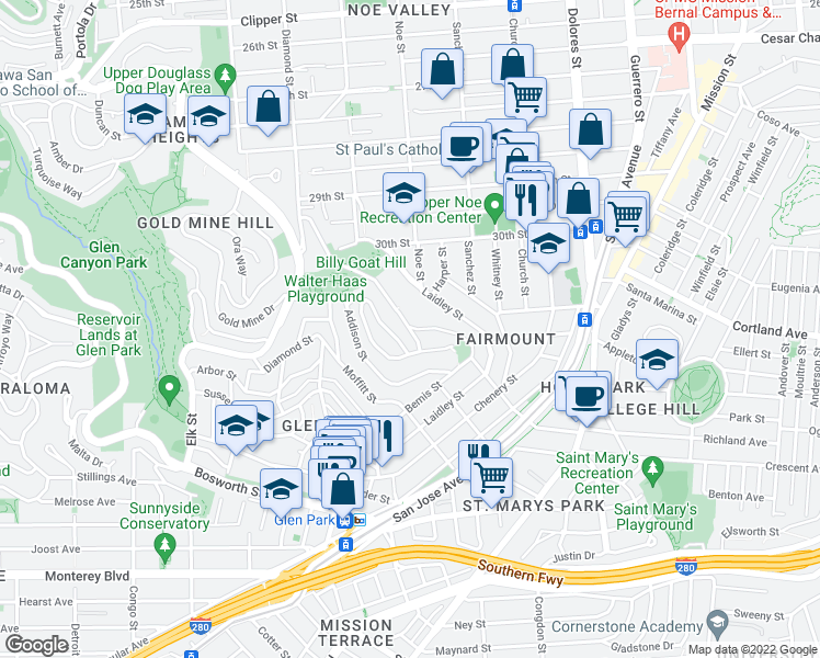 map of restaurants, bars, coffee shops, grocery stores, and more near Beacon St & Miguel St in San Francisco