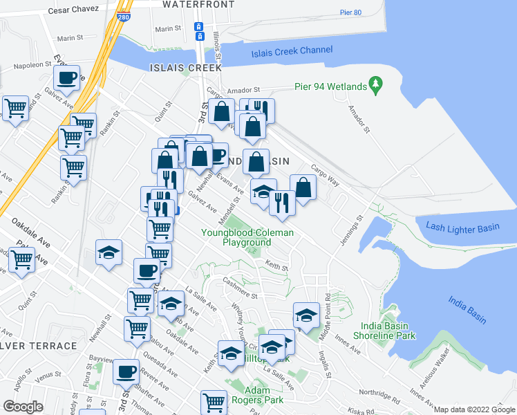 map of restaurants, bars, coffee shops, grocery stores, and more near 1331 Evans Ave in San Francisco