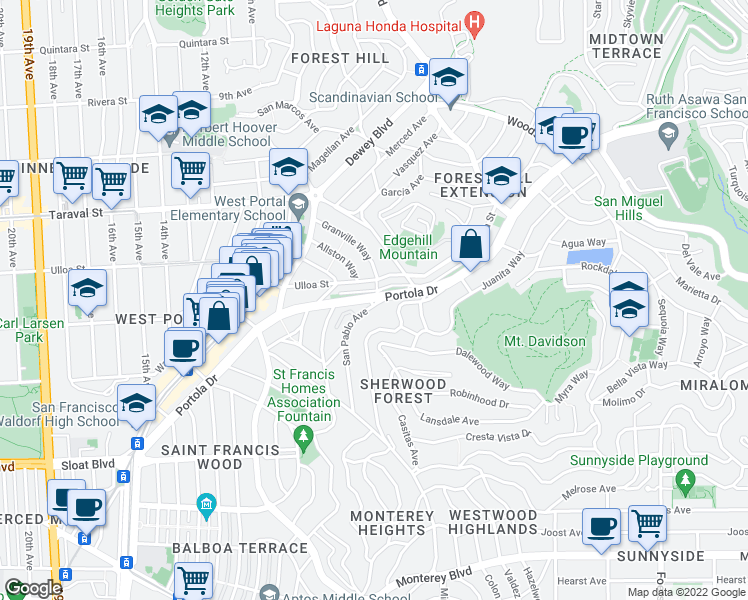 map of restaurants, bars, coffee shops, grocery stores, and more near Portola Dr in San Francisco