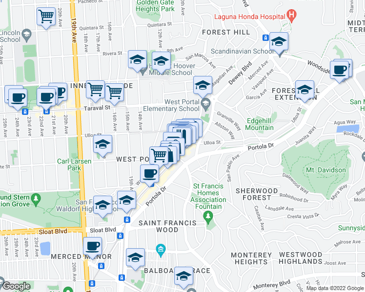 map of restaurants, bars, coffee shops, grocery stores, and more near 40 West Portal Avenue in San Francisco