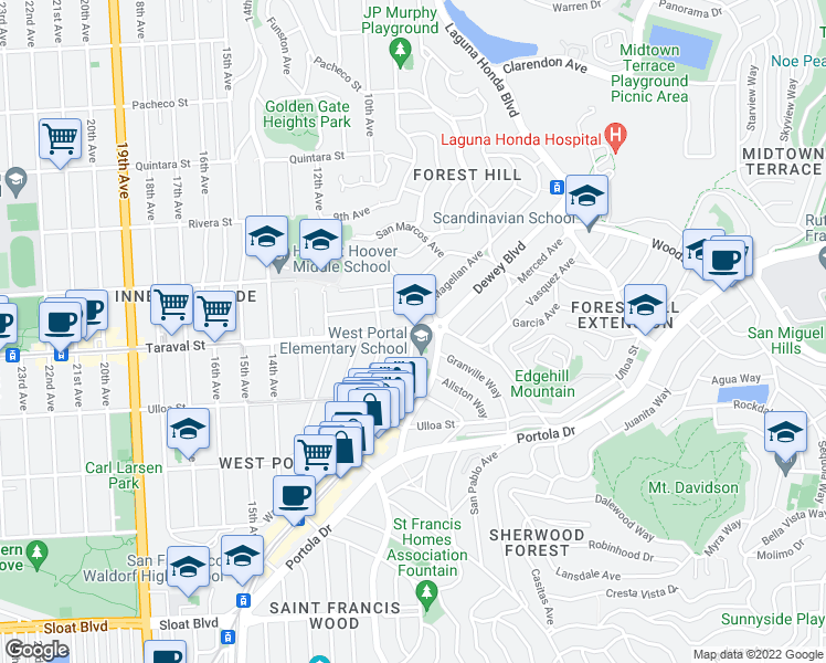 map of restaurants, bars, coffee shops, grocery stores, and more near 5 Claremont Boulevard in San Francisco