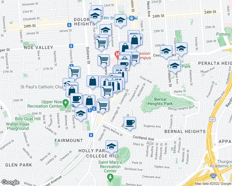 map of restaurants, bars, coffee shops, grocery stores, and more near Mission Street & 29th Street in San Francisco
