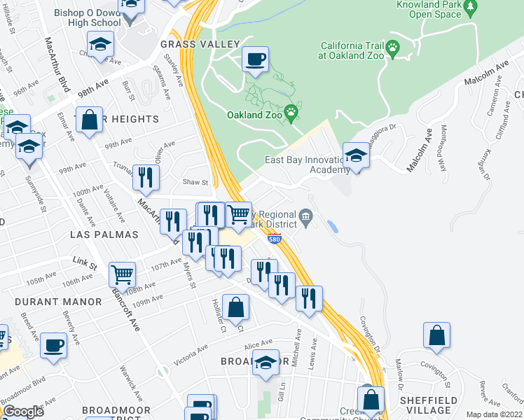 map of restaurants, bars, coffee shops, grocery stores, and more near 2947 Barrett St in Oakland