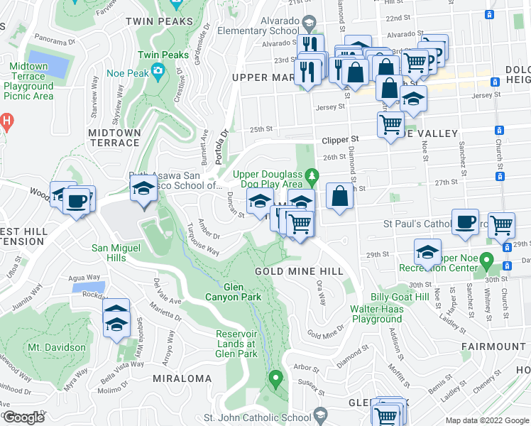 map of restaurants, bars, coffee shops, grocery stores, and more near Duncan Street & Amber Drive in San Francisco