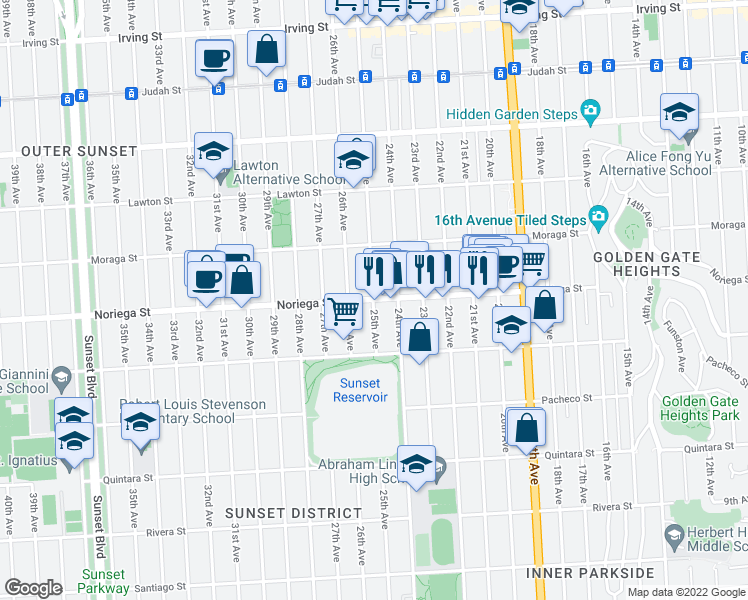 map of restaurants, bars, coffee shops, grocery stores, and more near Noriega Street & 25th Avenue in San Francisco