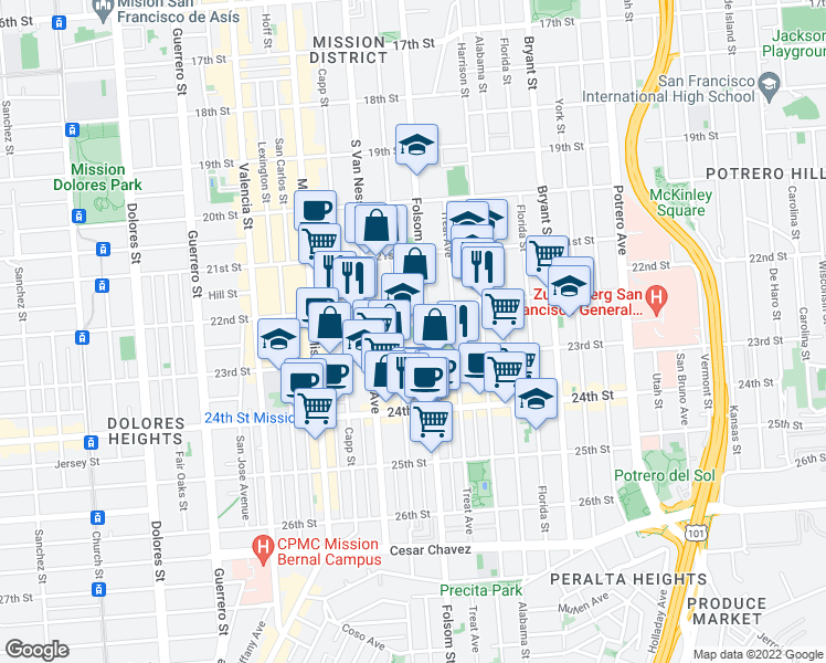 map of restaurants, bars, coffee shops, grocery stores, and more near 2612 Folsom Street in San Francisco