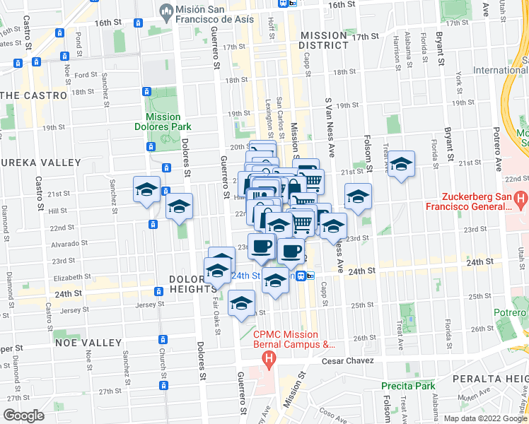 map of restaurants, bars, coffee shops, grocery stores, and more near 22nd Street & Valencia Street in San Francisco