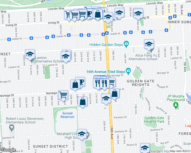 map of restaurants, bars, coffee shops, grocery stores, and more near 21st Avenue & Moraga Street in San Francisco