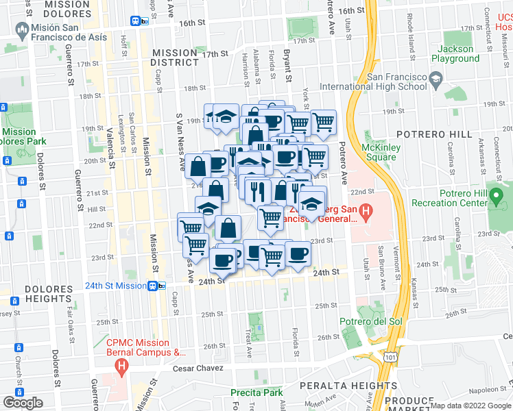map of restaurants, bars, coffee shops, grocery stores, and more near 2527 Harrison Street in San Francisco