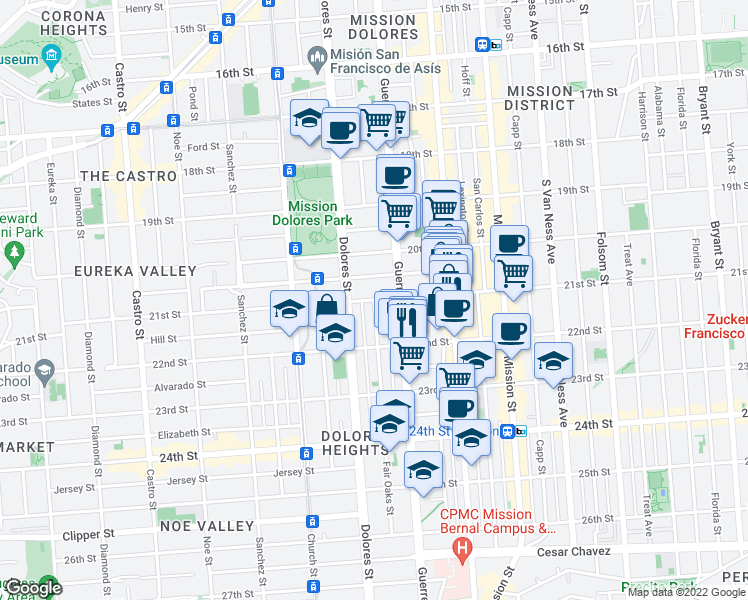 map of restaurants, bars, coffee shops, grocery stores, and more near 21st Street & Fair Oaks Street in San Francisco