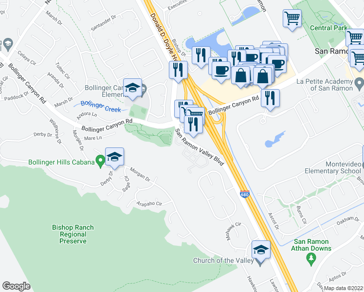 map of restaurants, bars, coffee shops, grocery stores, and more near 999-1199 Harness Drive in San Ramon
