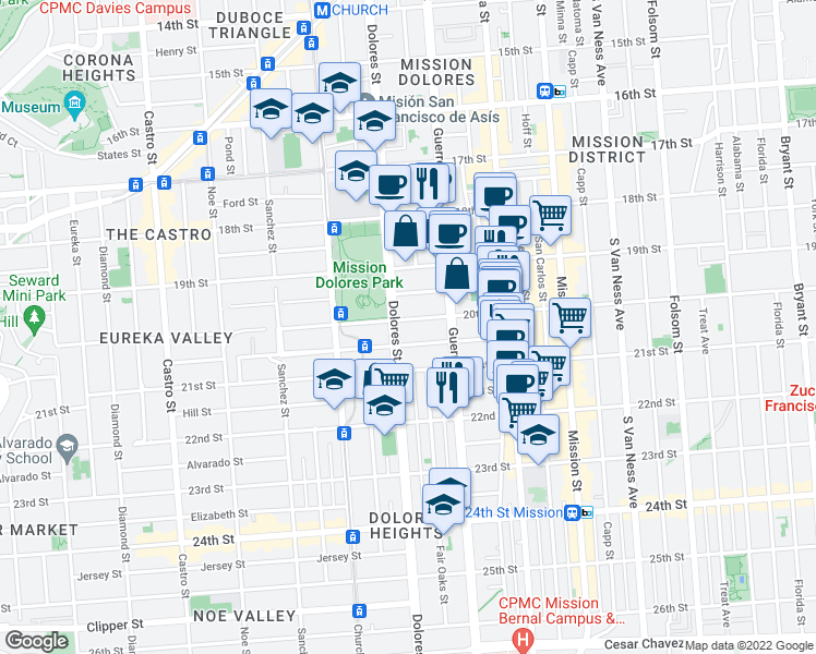 map of restaurants, bars, coffee shops, grocery stores, and more near 3783 20th Street in San Francisco