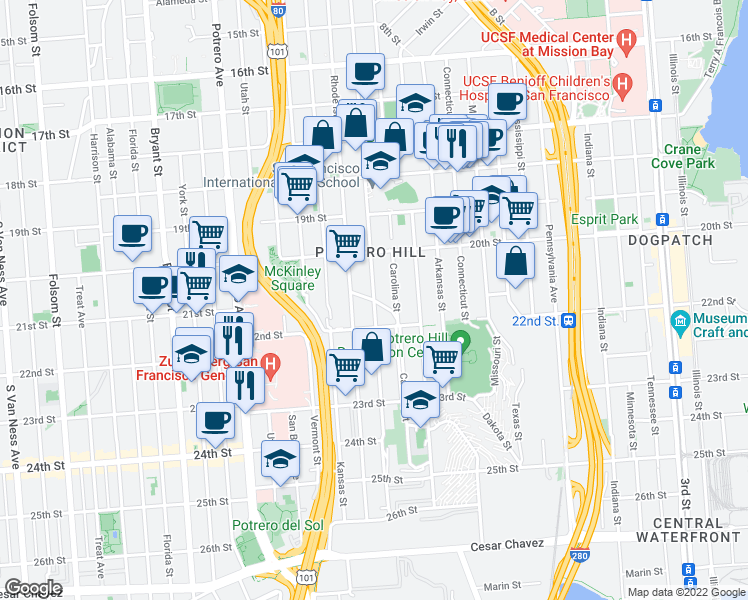 map of restaurants, bars, coffee shops, grocery stores, and more near De Haro Street & Southern