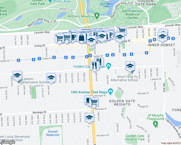 map of restaurants, bars, coffee shops, grocery stores, and more near 1520 19th Avenue in San Francisco