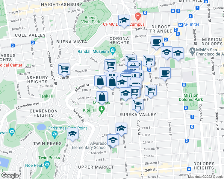 map of restaurants, bars, coffee shops, grocery stores, and more near 4401 18th St in San Francisco