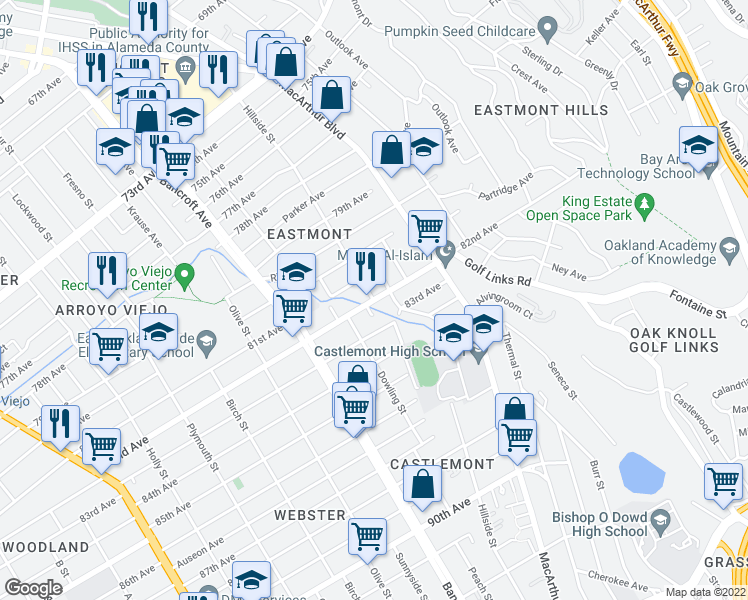 map of restaurants, bars, coffee shops, grocery stores, and more near Hillside St in Oakland