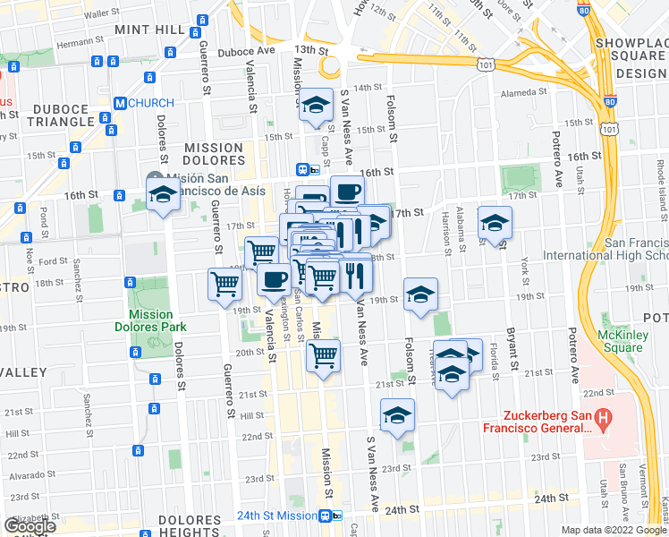 map of restaurants, bars, coffee shops, grocery stores, and more near 310 Capp Street in San Francisco