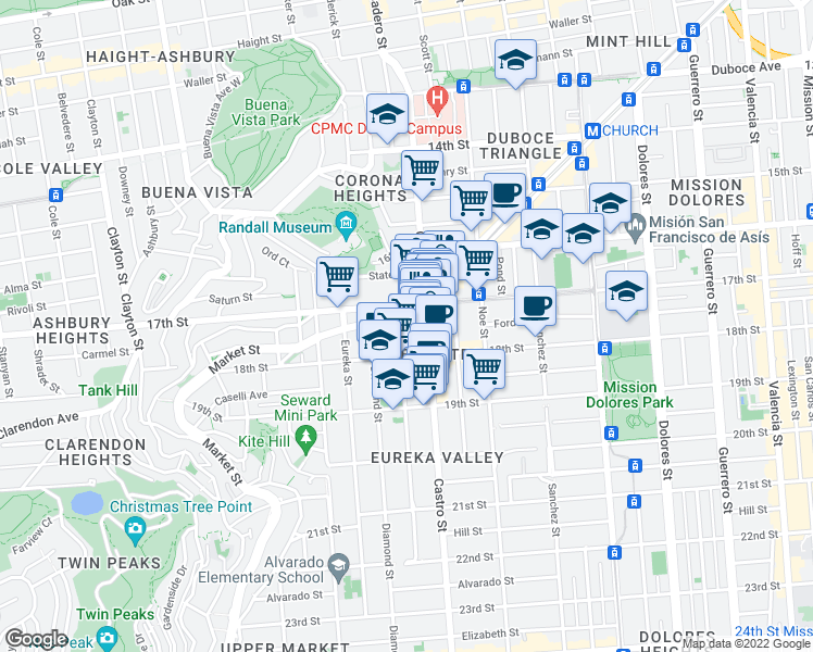 map of restaurants, bars, coffee shops, grocery stores, and more near 43 Collingwood Street in San Francisco
