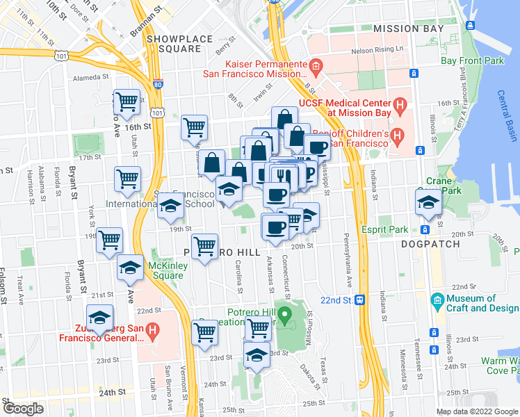 map of restaurants, bars, coffee shops, grocery stores, and more near 1651 18th Street in San Francisco