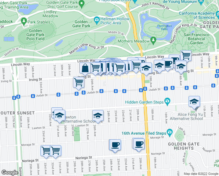 map of restaurants, bars, coffee shops, grocery stores, and more near 1380 24th Avenue in San Francisco
