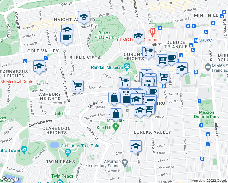 map of restaurants, bars, coffee shops, grocery stores, and more near Ord Street in San Francisco