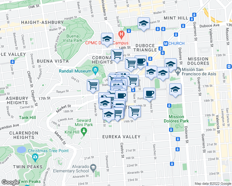 map of restaurants, bars, coffee shops, grocery stores, and more near 17th Street in San Franc