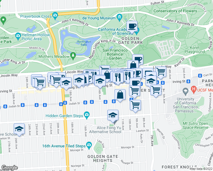 map of restaurants, bars, coffee shops, grocery stores, and more near Irving Street & Funston Avenue in San Francisco