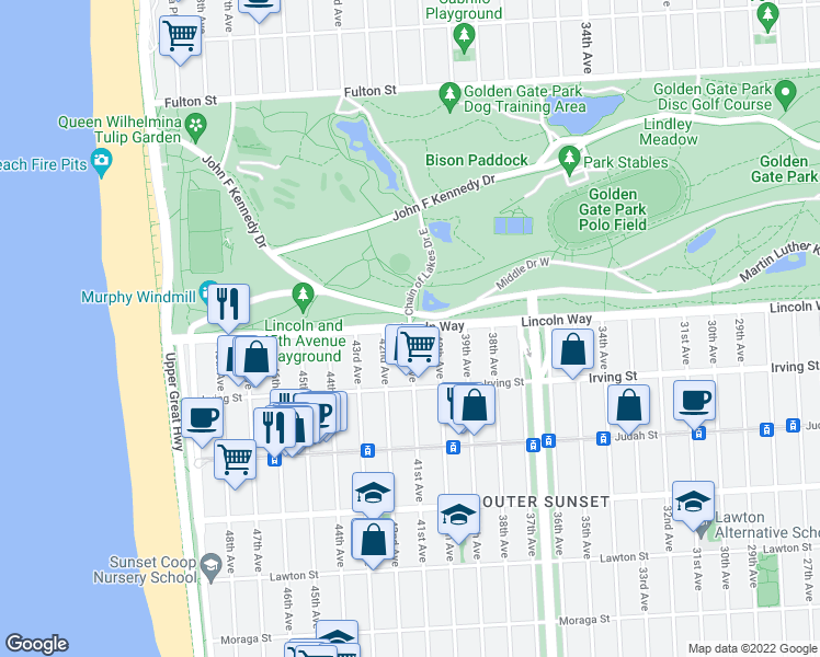 map of restaurants, bars, coffee shops, grocery stores, and more near Lincoln Way & 41st Avenue in San Francisco