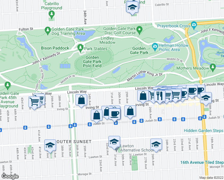 map of restaurants, bars, coffee shops, grocery stores, and more near Lincoln Way & 31st Ave in San Francisco