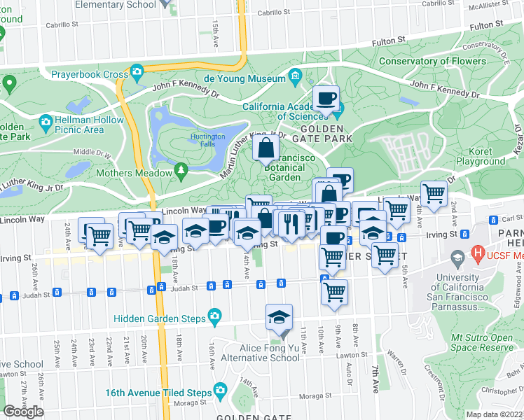 map of restaurants, bars, coffee shops, grocery stores, and more near 1208 Funston Ave in San Francisco