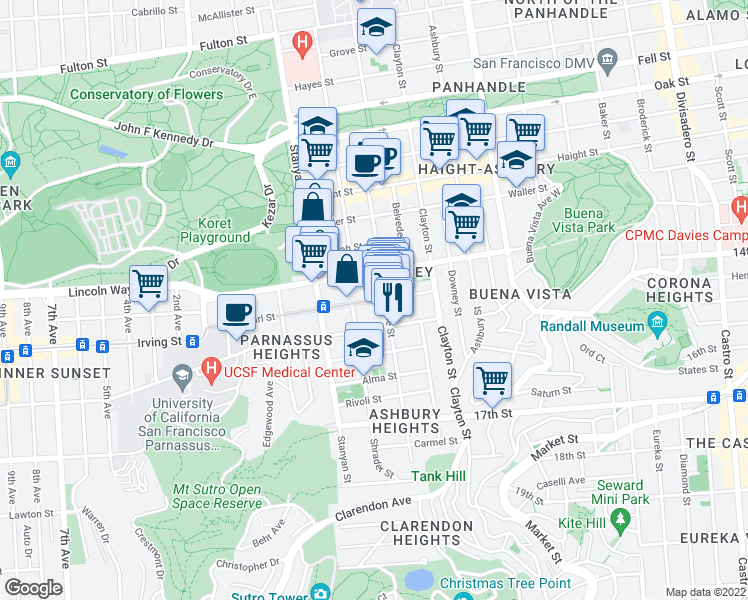 map of restaurants, bars, coffee shops, grocery stores, and more near 114 Carl St in San Francisco