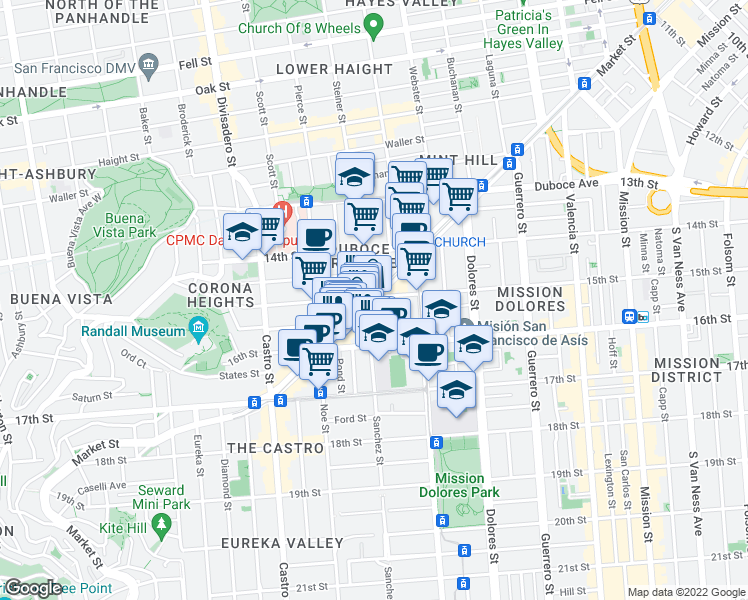 map of restaurants, bars, coffee shops, grocery stores, and more near 2191 Market St in San Francisco