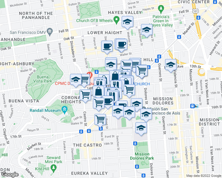 map of restaurants, bars, coffee shops, grocery stores, and more near 811 14th Street in San Francisco
