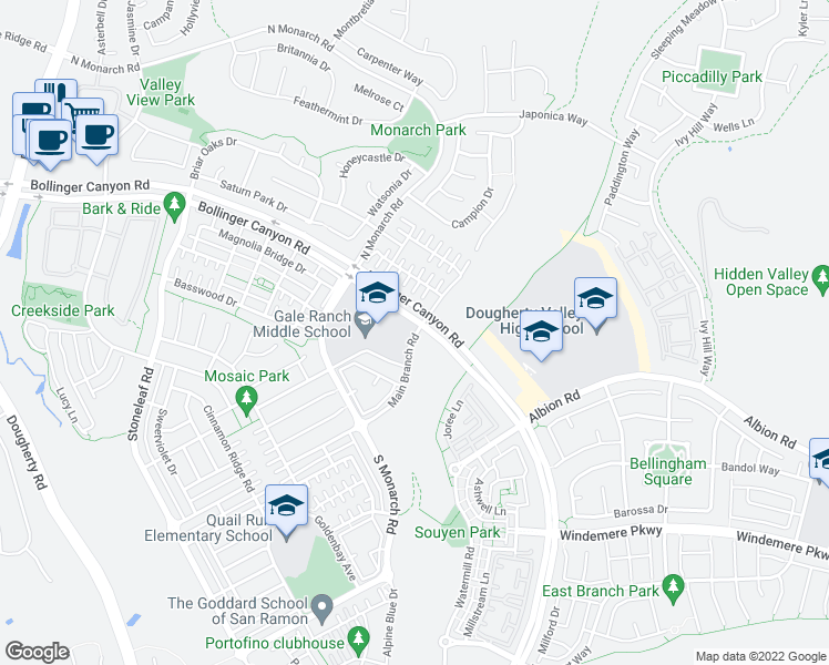 map of restaurants, bars, coffee shops, grocery stores, and more near 11890 Bollinger Canyon Road in San Ramon