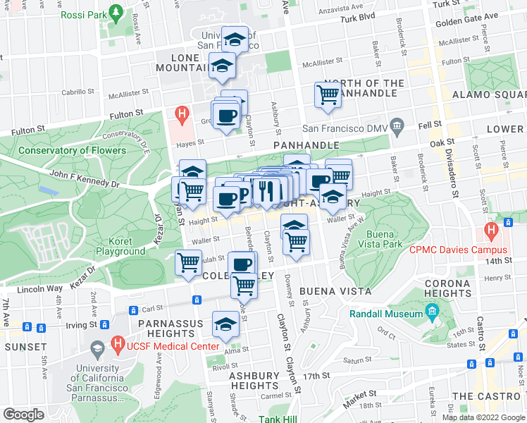 map of restaurants, bars, coffee shops, grocery stores, and more near Haight Street & Clayton Street in San Francisco