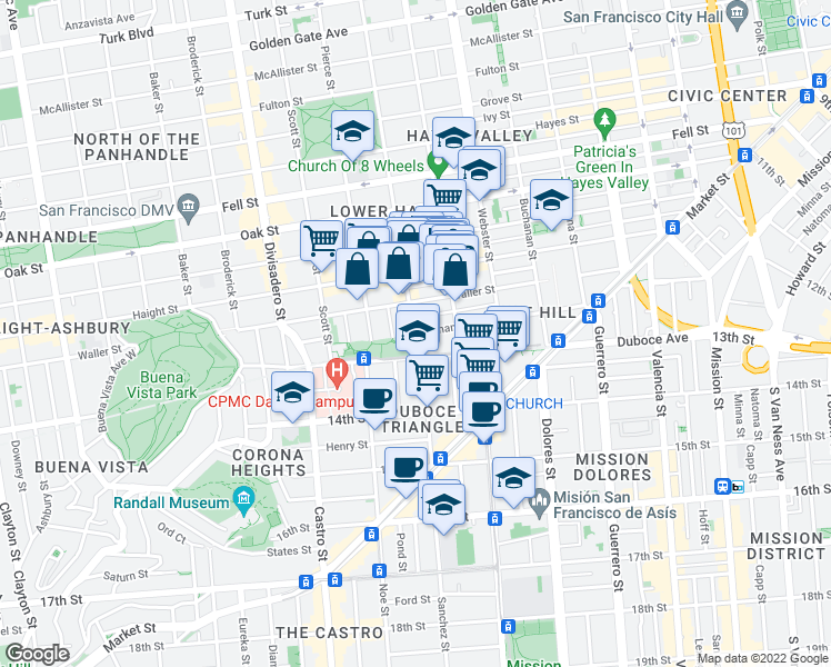 map of restaurants, bars, coffee shops, grocery stores, and more near Steiner Street & Hermann Street in San Francisco
