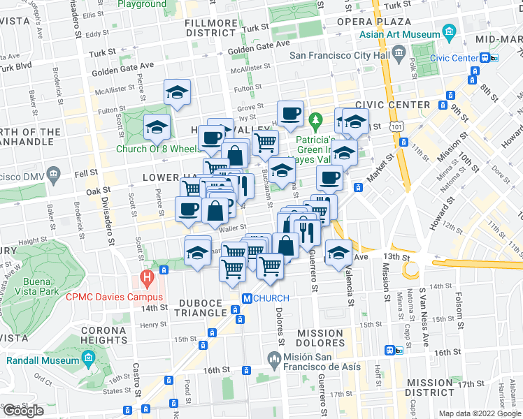 map of restaurants, bars, coffee shops, grocery stores, and more near 333 Haight Street in San Francisco