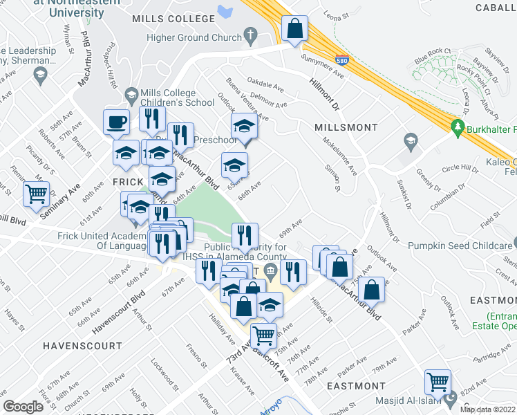 map of restaurants, bars, coffee shops, grocery stores, and more near 6646 MacArthur Blvd in Oakland