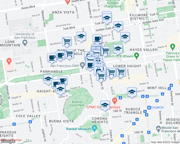 map of restaurants, bars, coffee shops, grocery stores, and more near Oak Street & Broderick Street in San Francisco
