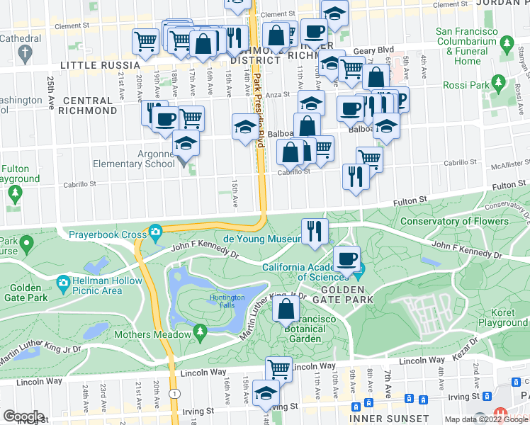 map of restaurants, bars, coffee shops, grocery stores, and more near State 1 & Park Presidio Blvd in San Francisco