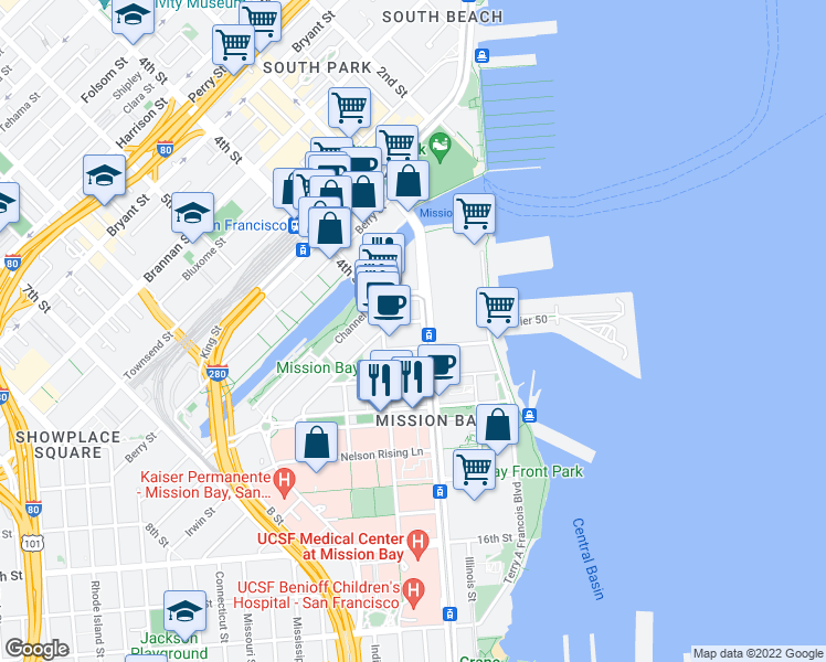 map of restaurants, bars, coffee shops, grocery stores, and more near 555 Mission Rock Street in San Francisco