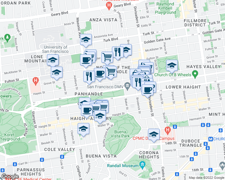 map of restaurants, bars, coffee shops, grocery stores, and more near Fell Street & Lyon Street in San Francisco