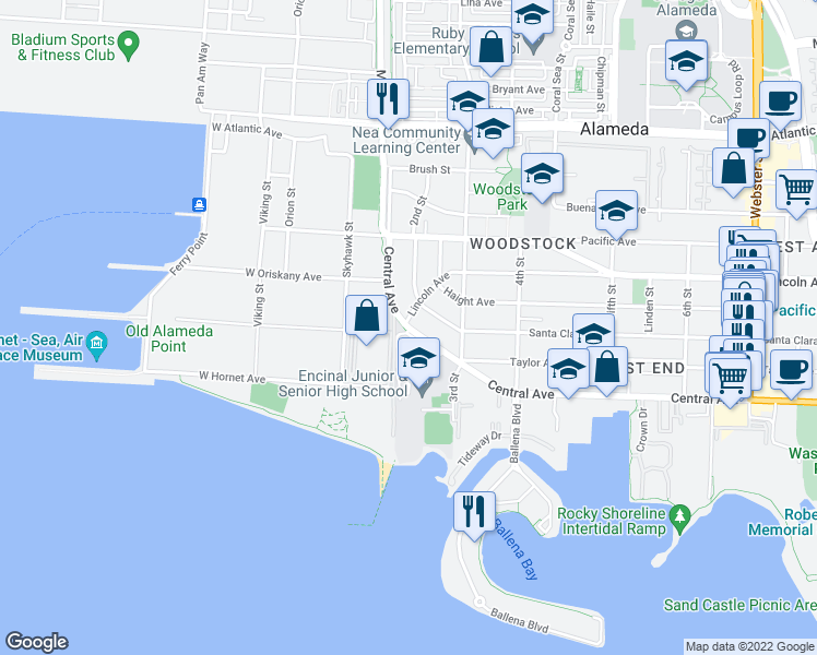 map of restaurants, bars, coffee shops, grocery stores, and more near Hancock Street in Alameda