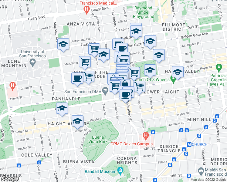 map of restaurants, bars, coffee shops, grocery stores, and more near Fell Street & Broderick Street in San Francisco