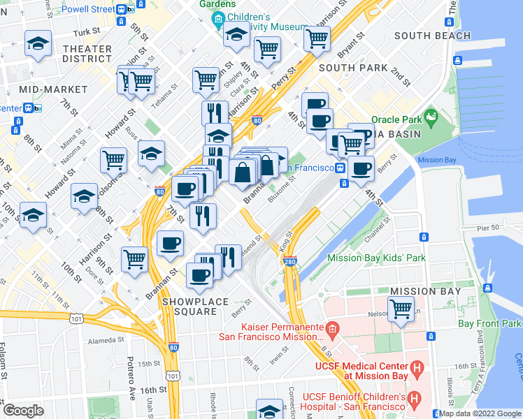 map of restaurants, bars, coffee shops, grocery stores, and more near 178 Bluxome Street in San Francisco