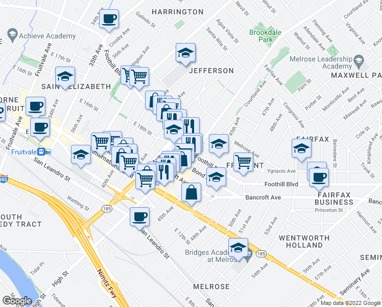 map of restaurants, bars, coffee shops, grocery stores, and more near Foothill Boulevard & High Street in Oakland