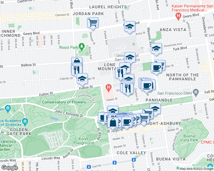 map of restaurants, bars, coffee shops, grocery stores, and more near 2257 Fulton Street in San Francisco